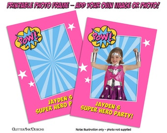 Super Hero party Pink & Blue Batgirl Super Girl Wondergirl PERSONALIZED printable photo frame - ideal for superhero party favor, photo booth