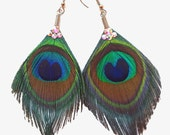 Crystal Peacock Feather Earrings / peacock earrings / surgical steel / feather jewelry accessories / hypoallergenic