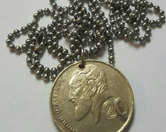1993 Coin Necklace - Cyprus - Stainless Steel Ball Chain or Key-chain