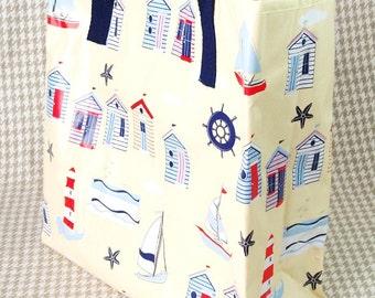 Beach huts vinyl beach bag shopping tote lunch bag.