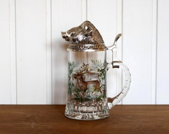 Stunning Vintage German Glass Tankard with Pewter Boar Head Lid- Deer and Stag Design on Glass