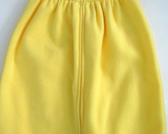 Infant sleep sack in golden yellow with bee applique, sleeveless, warm and soft fleece, size small