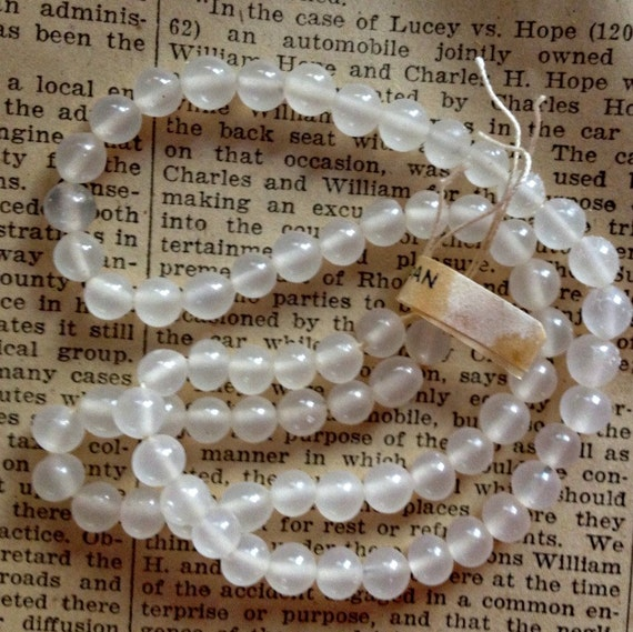 Vintage Glass Beads - 6mm Milky White Round Beads - Full Original Strand - Made in Japan