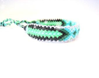 Friendship Bracelet.  Aztec. Handwoven. Neon Green  & Turquoise  (silver)