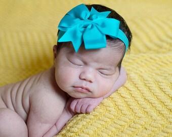 U CHOOSE COLOR  Hair bow baby girl grosgrain hairbow headband toddler newborn