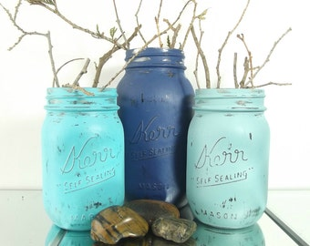 Hand Painted Mason Jars Decor, Beach Cottage Decor, Tabletop Decor, New Home Housewarming Gift, Table Centerpieces, Blue Mason Jars