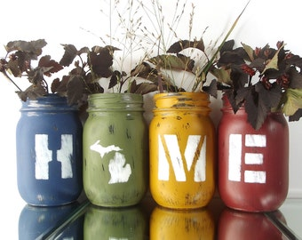Michigan Decor, State Pride, Cute Home Decor, Mason Jar Decor, Personalized Gift, New Home Gift, Tabletop Decor, Rustic Decor