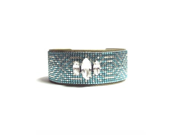 Tribal bead loom bracelet cuff - friendship bracelet, loom bracelet, native bracelet, ethnic bracelet, boho bracelet, aztec bracelet