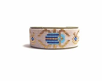 Scarab bracelet - Tribal bead loom bracelet cuff, friendship bracelet, bead loom bracelet, Egyptian bracelet, scarab jewelry, beetle jewelry