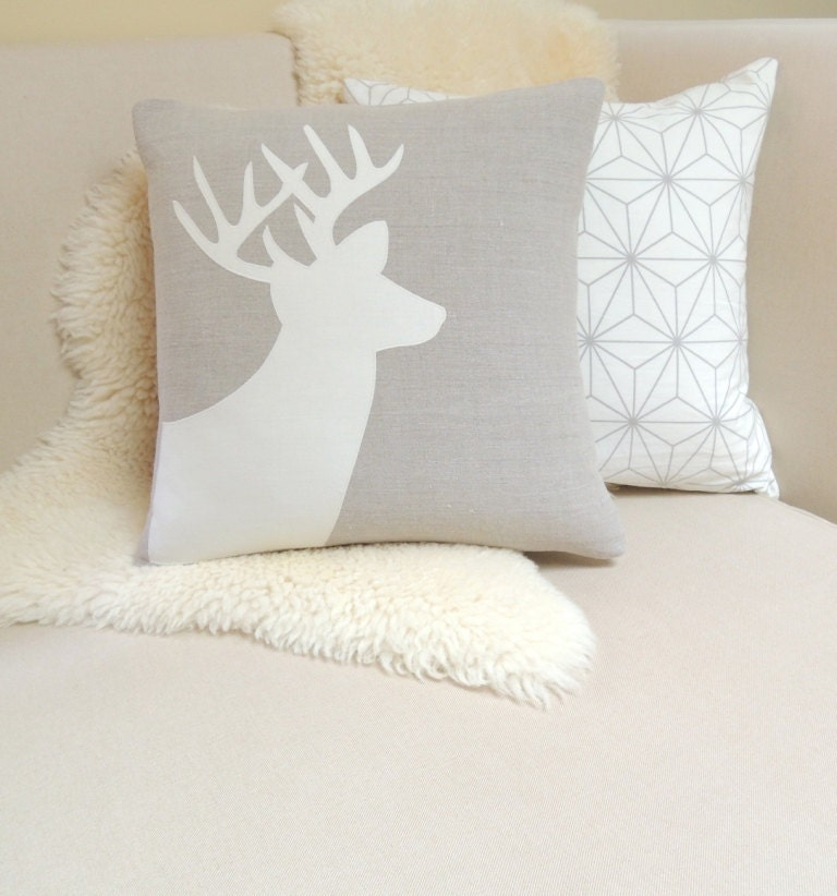 Modern Moose Pillows : Deer Applique Pillow Cover Rustic Modern Holiday
