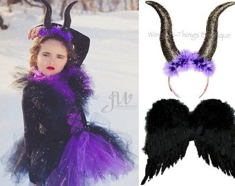 BAD FAIRY COSTUME Wing Set w/ Black Wings, Horns Headband & Tutu Dress, Evil Queen, Kids Halloween Costume, Toddler, Girls