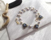 Fashion Statement, Swarovski Crystal, Beaded Chain Necklace with Glass Pearls and Crystal Slider Beads in Gold, Blues, and Barely Pink