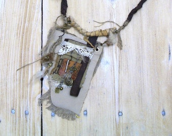 Leather Necklace with Pocket , Mixed Media, Wearable Art, Medicine Bag, Steampunk  necklace, victorian tribal, OOAK