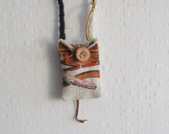 Flax bag, flax bag medicine, amulet bag, pouch necklace small flax treasure, pouch necklace