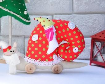 Christmas Decoration Santa Claus Snail /Home Decor/ Child Room Decor /Decorative Snail Toy Plush Softie Stuffed Snail /Christmas Ornament
