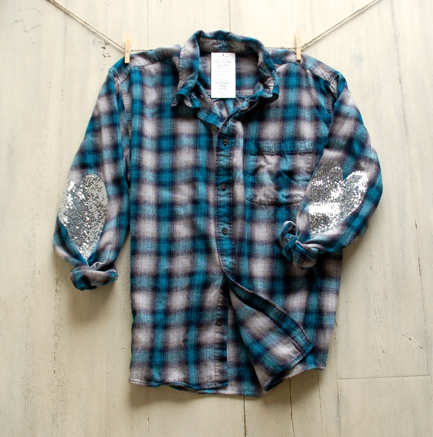 Sequin flannel shirt with sequin heart elbow patch boyfriend for Mens flannel shirt with elbow patches