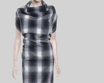 SALE! woman poncho, check poncho, woman cape, Italian wool poncho, fabric poncho, black poncho, black cape, wool scarf, black poncho