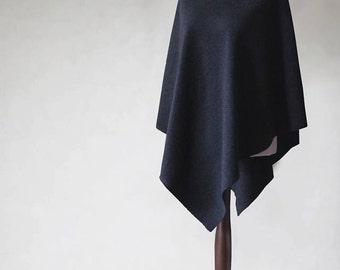 Wool poncho, black sweater, wool cape, black poncho, black coat, women's coat, women's poncho, women's cape,pullover sweater,women's fashion