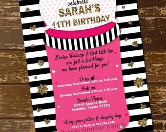 Slumber Party Invitation, Sleepover Invitation, Slumber Party Invite, Sleeping Bag Invitation, Girls Slumber Party, Hot Pink Invite