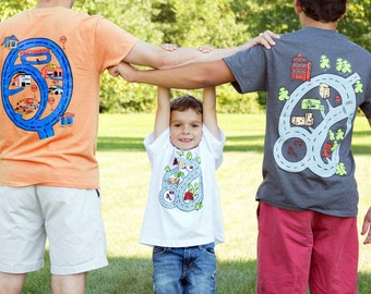 Father Son Matching Shirts -  Road Map Race Track Car T-Shirt for Father and Baby