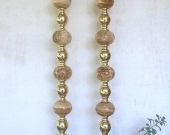 vintage brass and alabaster floor candlesticks pillar candle holders boho glam 3 feet tall