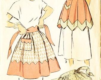 Advance 4998 Vintage 1940s Set of Aprons Sewing Pattern Sz Large