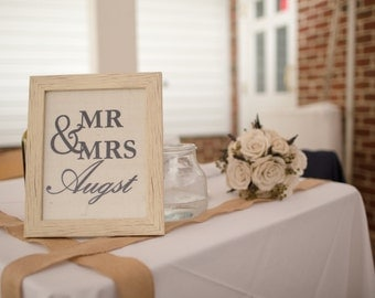 Personalized Mr. & Mrs. Family Name Burlap Sign/Wall Print Wedding Gift/Decoration Gallery Wall