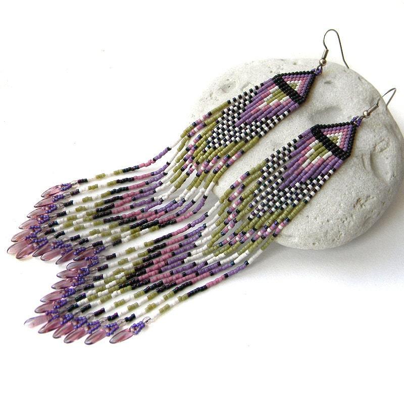 earrings seed bead earrings purple by anabel27shop