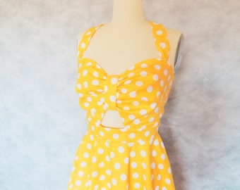Daffodil Dress - Polka Dot, Cut Out, Full circle Skirt, Yellow,