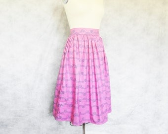 Swirl and Twirl Midi Skirt - Pink, Purple, Pleated, Long, Cotton, High Waisted