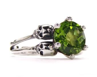 Skull Ring For Her Sterling Green Peridot Skull Wedding Ring Goth Engagement Ring Light Green Stone Emerald Women Ring Psychobilly All Sizes