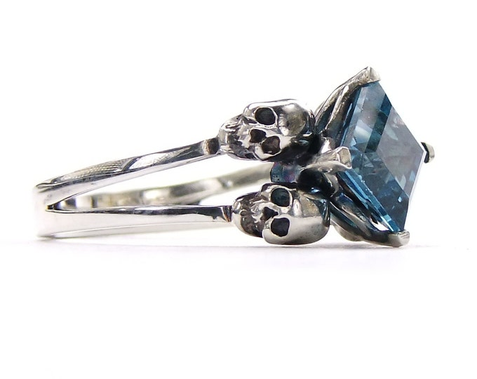 Valentines Skull Ring Size 7 READY TO SHIP Goth Engagement Blue Topaz Memento Mori Sterling Jewel Ring Blue Goth Engagement Ring Rockabilly