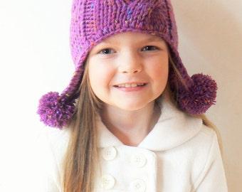 Winter Hat for Girls, Knit Hat, Kids Hat, Pom Pom Hat, Winter Outfit, Infant Hat, Earflap Hat, Purple Hat, Cute Girls Hat, Knit Beanie,