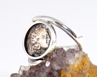 Ancient Coin Ring - Roman Commander - 925 Sterling Silver - swirl band - men & women's coin ring