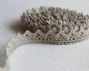 Grey Linen lace trim rustic cozy