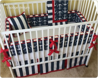 Anchors Nautical Theme Sailor Baby Boy Crib Bedding - Pick Your Items from Bumper Pad, Crib Skirt, Blanket and Accent Pillow / Made-to-Order