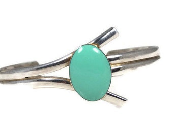 Faux Turquoise Silver Plated Cuff Bracelet Marked Mexico