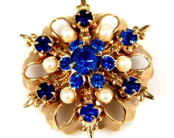 Vintage Sapphire Rhinestone Faux Pearl Pin Brooch