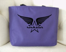 Classic font rockstar tote bag - rockstar themed gift - polyester tote bag - star and wings tote bag - original design apparel rockstar bag