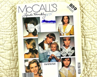 Bows Collars, Accessories Pattern, McCalls 859 for Women, Marti Michell, Lace, 1990s Uncut