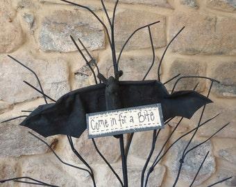 Halloween decor Bat , come in for a bite, Primitive Halloween door decoration, vampire bat, haunted house decor, handmade Halloween doll