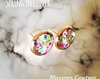 Watercolor Floral Stud Copper Earrings