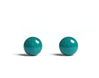 Turquoise stud earrings 6mm - Deep Turquoise earrings minimalist stud earrings Juniper Viridian with hypoallergenic surgical stainless steel