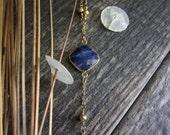 Sapphire Necklace,Gold Sapphire Necklace,Sapphire Jewelry,Y Necklace,Tassel Necklace,Raw Gemstone Necklace,September Birthstone,Blue Stone