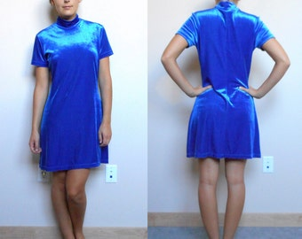 Vintage Ultramarine Blue Velvet-Velour Turtle Neck Mini Dress  (Size Medium)