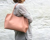 Leather shoulder bag, leather bag, zippered tote bag, nude bag, FREE SHIPPING