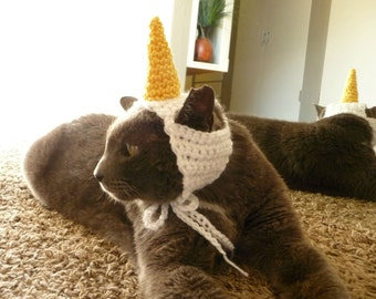 Cat Costume for a Cat CROCHET PATTERN Unicorn Pet Costume for a Pet Cat Hat for a Cat Hand Crochet Cat Costume Cat Halloween Costume Clothes
