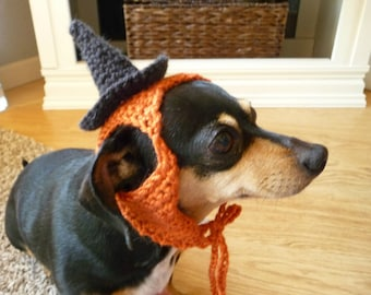 Halloween Costume for Dog Witch Hat for a Dog Holiday Hat Fall Orange Black Funny Dog Hat Knit Dog Hat Crochet Dog Hat Pet Clothing Present
