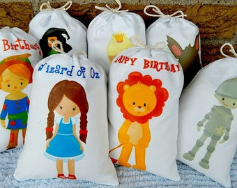 "Wizard of Oz Birthday Party Favor bags Great for gifts or treats Can be Personalized 5"" X 7"" or 6"" X 8"" Qty 7"