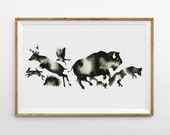 Modern Animal Art Print Woodland Forest Animal Silhouette Print Modern Watercolor Black and White Minimalist Art Monochrome Nursery Artwork